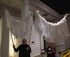 Bob and Tricia Barrett with White Bird Parade Puppet
